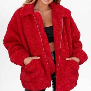 I. AM. GIA. Red Sherpa Pixie Coat